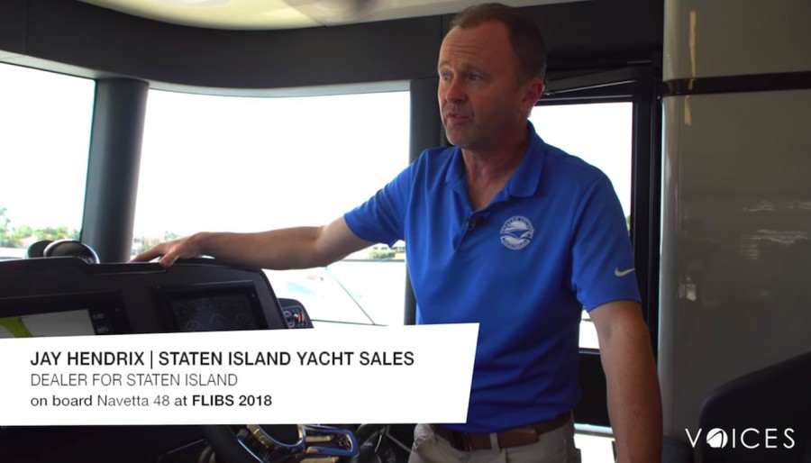 """""""The Absolute Voices"""". At FLIBS 2018 we met Jay Hendrix, General Manager of Staten Island Yachts on board the Navetta 48"""