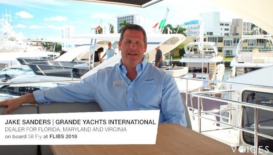 """""""THE ABSOLUTE VOICES"""". At FLIBS 2018, we met Jake Sanders of Grande Yachts International on board the 58 FLY"""