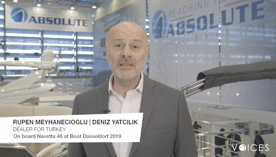"""The Absolute Voices"". Al Boot Düsseldorf 2019 a bordo della Navetta 48 con Rupen Meyhanecioglu di Deniz Yatcilik, dealer Absolute in Turchia"
