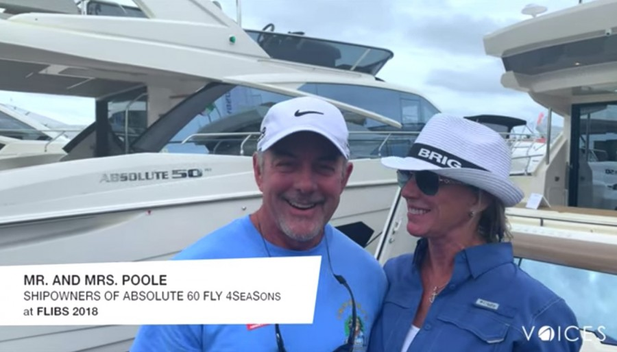 """""""The Absolute Voices"""": Mr. and Mrs. Poole at Flibs with their """"4SeaSons"""", an Absolute 60 FLY."""